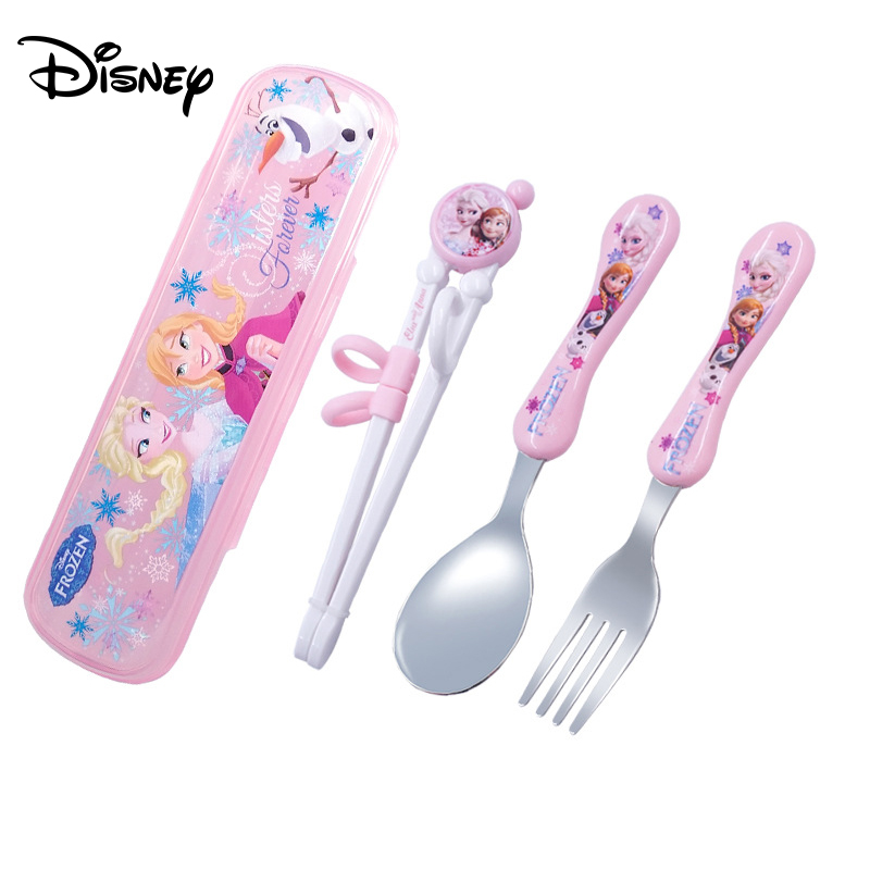 Disney Cartoon Children Practice Chopsticks Cartoon Mickey Minnie Spoon Chopsticks Set Baby Auxiliary Learning Chopsticks
