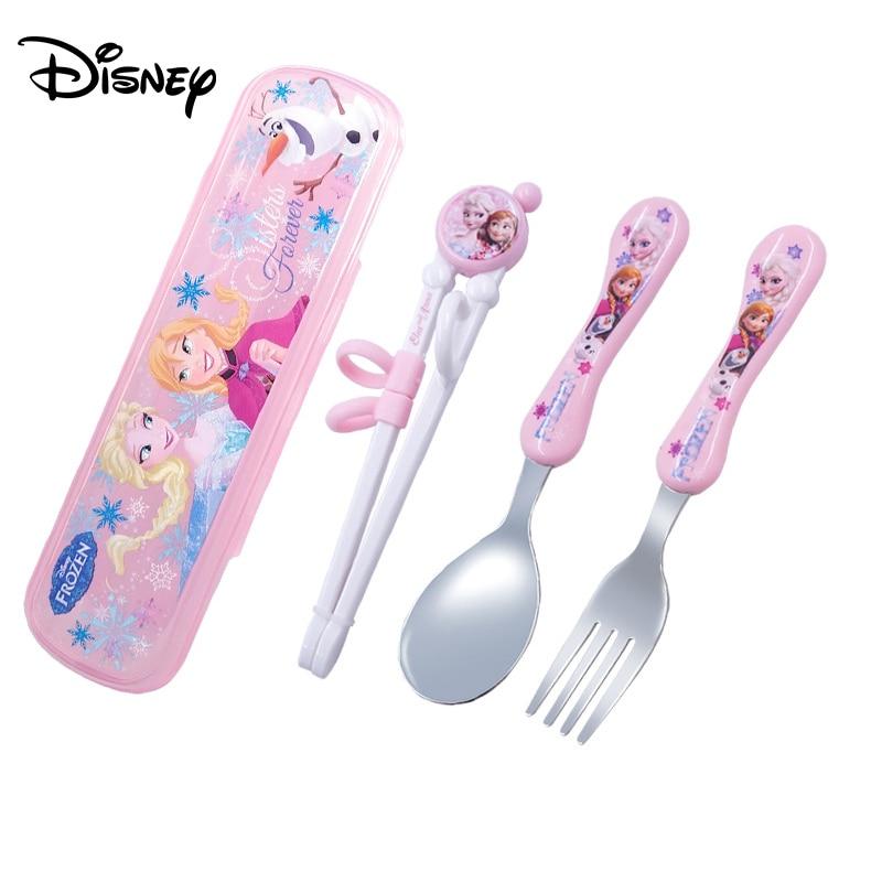 Disney Cartoon Children Practice Chopsticks Cartoon Mickey Minnie Spoon Chopsticks Set Baby Auxiliary Learning Chopsticks