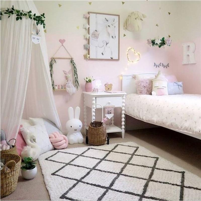 Handmade Baby Play Mat Diamond Classic Black White Plaid Carpet for Living Room Baby Crawling Blanket Tapete Bebe Studio Props