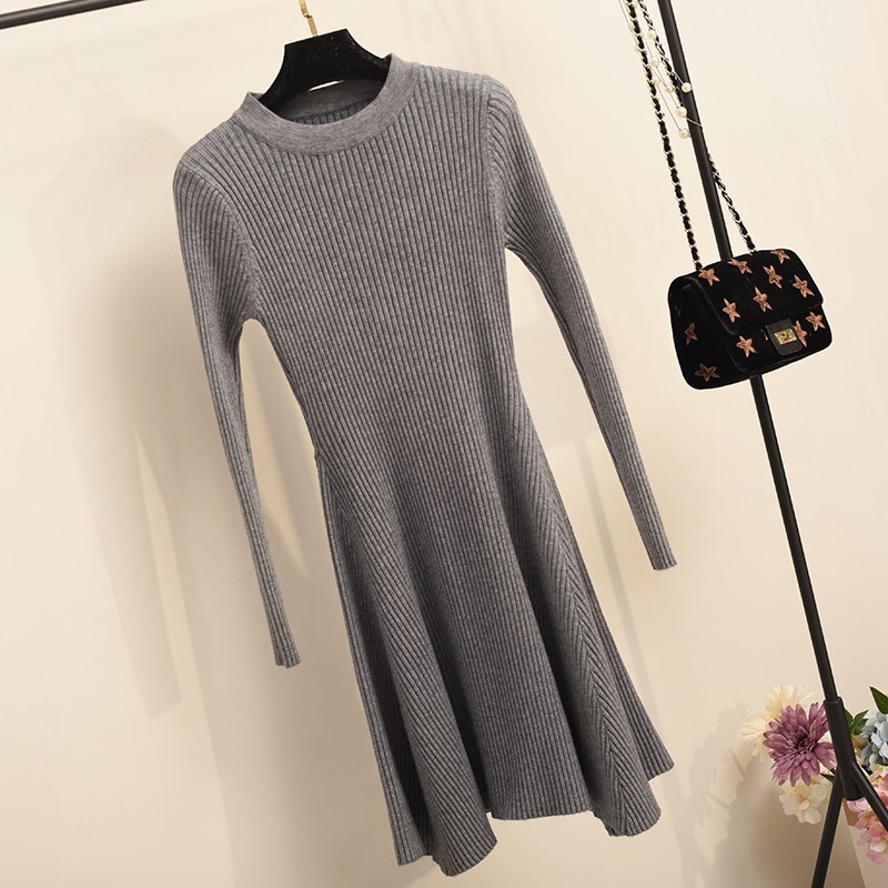 H35c3319106264a0990276a8ea1687f7fu - Women Long Sleeve Sweater Dress Women's Irregular Hem Casual Autumn Winter Dress Women O-neck A Line Short Mini Knitted Dresses