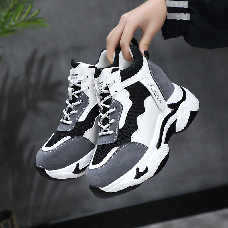 New 2020 Spring Women Sneakers 8CM Wedge Heels Platform Shoes Fashion Breathable Chunky Casual Shoes Hidden Heel Vulcanize Shoes