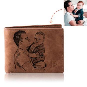 Photo Wallet Men Retro Customize Multifunction Short Pu Leather Bifold Customized Picture Carving Text Purse Fathers Day Gift
