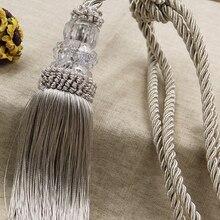 Curtain Tieback Beaded-Tassel Decorative Room-Accessories Crystal Home-Decor-Cord Rope