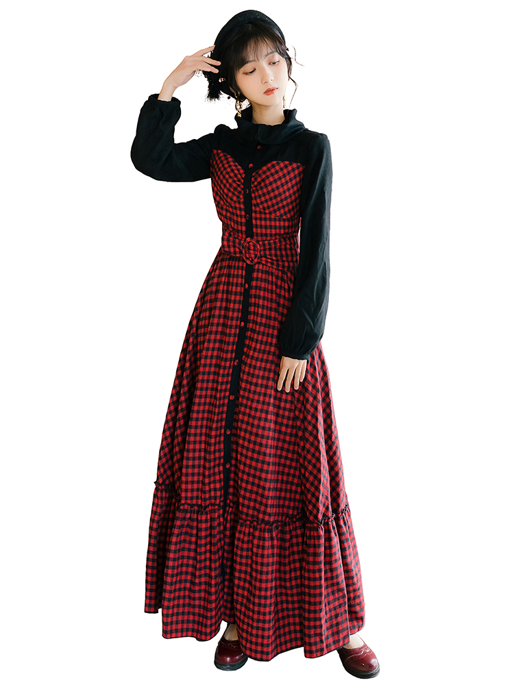 YOSIMI 2020 printemps Vintage rouge Plaid longue femmes robe faux ensemble Vestidos manches longues soirée robes élégantes cheville longueur - 5