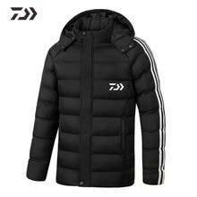 Daiwa Съемная Рыбацкая куртка с капюшоном мужская полосатая термальная хлопковая рыболовная одежда зимняя утепленная уличная однотонная Рыбацкая рубашка