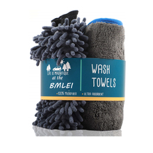 Microfiber Towel with Car Wash Mitt Microfiber Cleaning Cloth(1000GSM) Super Soft Strong Absorption for Car Cleaning