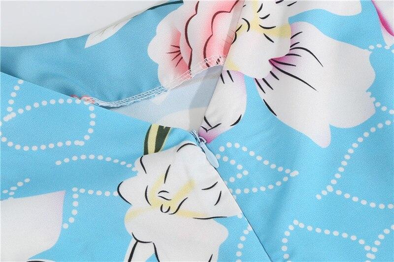 Summer Floral Print Elegant A-line Party Dress Women Slim White Short Sleeve Swing Pin up Vintage Dresses Plus Size Robe Femme 111