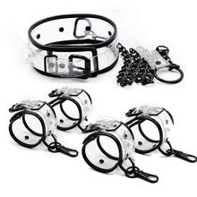 Adjustable Transparent PVC Handcuffs Ankle Cuffs Collar Neck Manacle BDSM Bondage Restraints Shackles Fetish Sex Toy for Couples