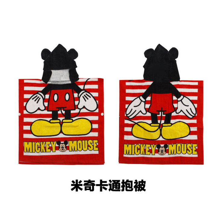 Wechat Business Hot Selling Cartoon Mickey Mouse Bath Towel Cloak Pure Cotton Hooded Bath Towel