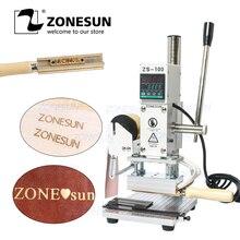 Zonesun zs100 manual do logotipo de papel de couro do cartão do pvc folha quente que carimba a bronzeação que grava a máquina da imprensa do perfurador do calor 5x10cm