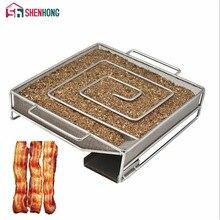 SHENHONG квадратный генератор холодного дыма для барбекю бекон рыба лосось мясо пыль Горячая и курить лосось мясо сгореть курильщик инструменты бекон