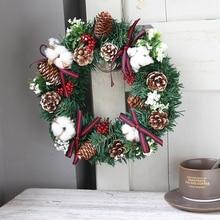 1 шт. Рождественский венок с искусственным Ягодным сосновым конусом и бантами, подвесная Гирлянда для передней двери, украшения для дома и праздника
