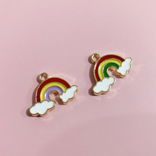 Mix 10pcs  Rainbow Clouds Enamel Charms  Alloy Pendants Necklace Earrings Charms for Jewelry Making Bulk 14x19mm wholesale 10pcs zinc alloy enamel rainbow charms jewelry pendants diy earrings necklace making accessory mixed charms
