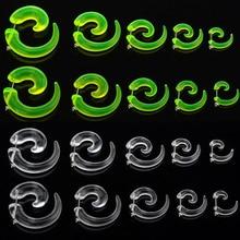 Transparent 10pcs/ 5Pair Acrylic Spiral Ear Plugs Fake Stretcher Flesh Earrings Piercing Jewelry Gauges 3 4 5 6 8mm