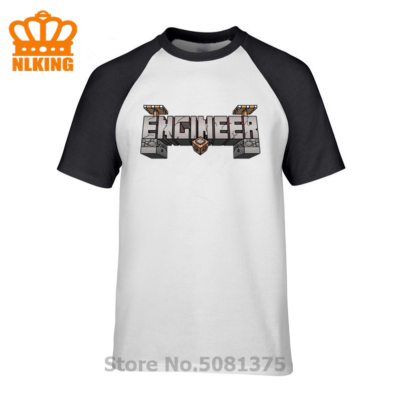 Minecraft Redstone Engineer 3D T-Shirts Beer Engineer Gear Men's T Shirts Summer/Fall 100% Cotton Crew Neck Tops Simple Style