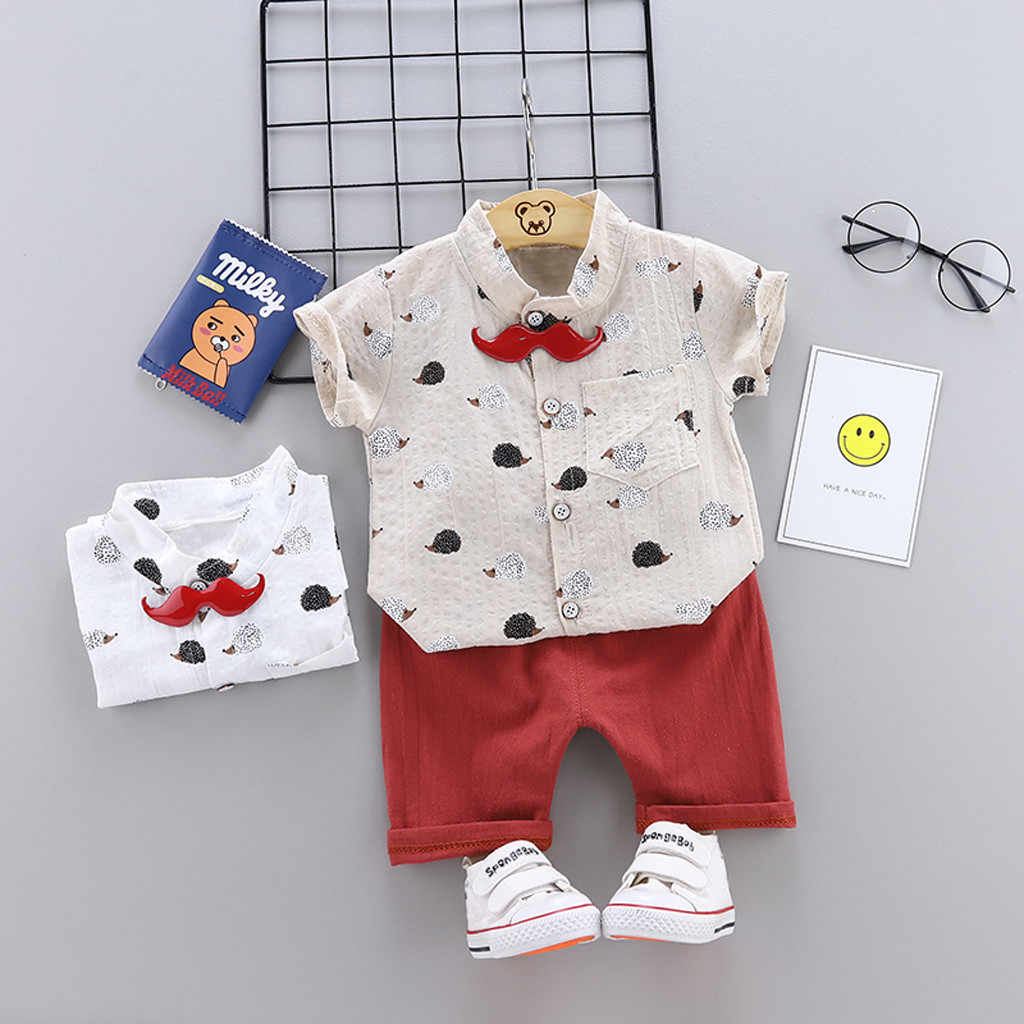 Infant Baby roupas Boys Girls boy set Short Sleeve Cartoon Print Tops + Stripe Short Outfit kids dresses for boys boys clothing