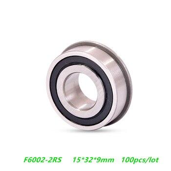 100pcs/lot flanged bearing F6002-2RS F6002RS F6002 2RS RS 15x32x9 mm flange deep groove ball bearings 15*32*9