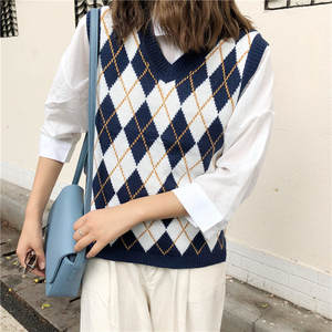 Pullover Vest Knitwear Geometric Rhombic-V-Neck Vintage Blue Women Sleeveless Waistcoat