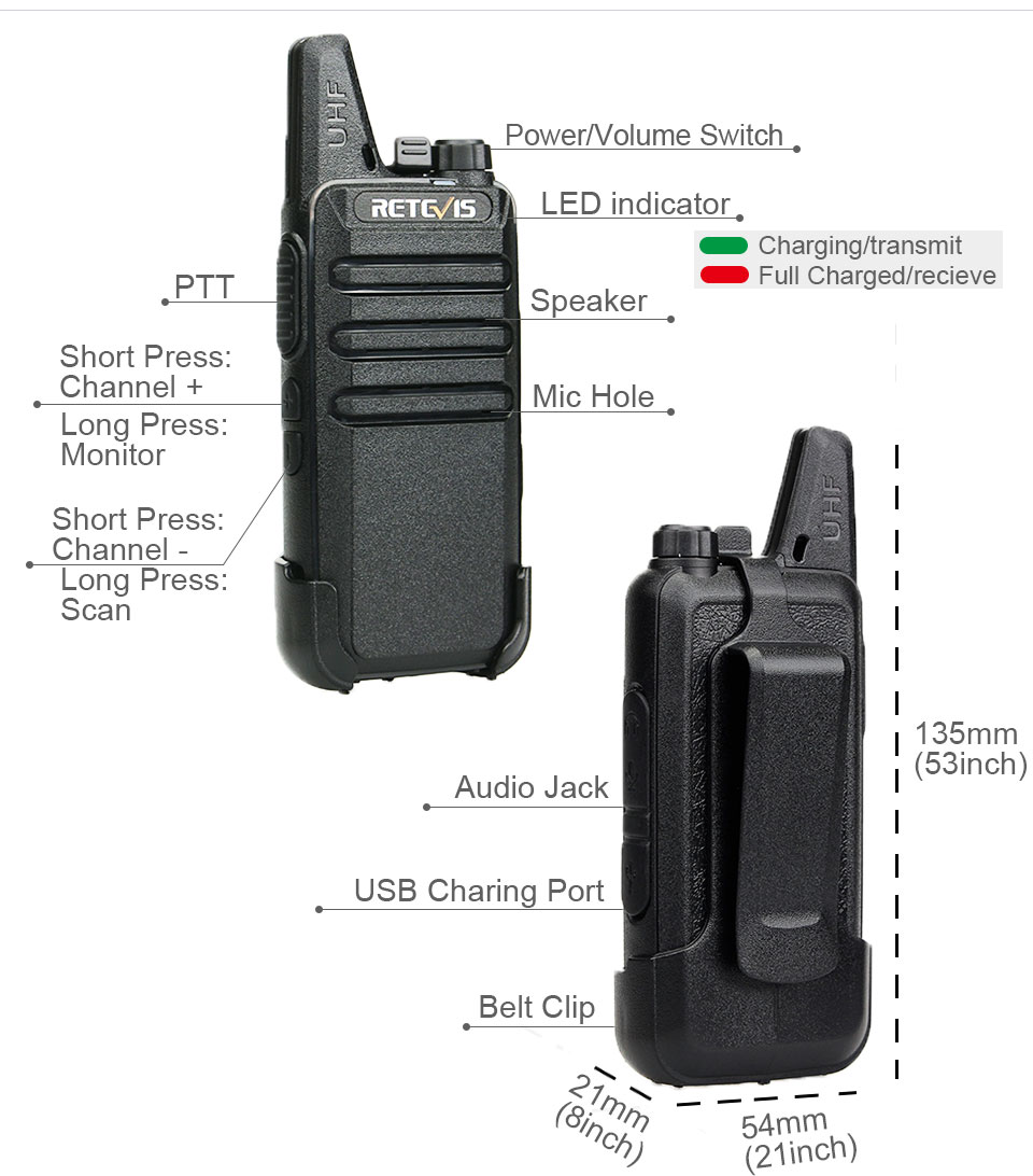 RETEVIS RT622 Mini Walkie Talkie 4 pcs PMR446 PTT VOX Two Way Radio Walkie-talkie 4 Pieces Portable Radio for hunting FRS Radio