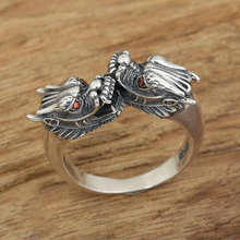 925 Sterling Silver Ring Adjustable Ring Retro Thai Silver Red Eye Dragon Women Men fine jewelry S221
