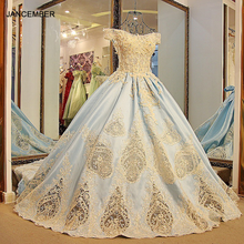 LS54711 Lovely arabic style evening dresses short sleeves corset back ball gown party dresses 2016 light blue 100% real photos