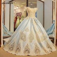LS54711 belles robes de soirée de style arabe manches courtes corset dos robe de bal robes de soirée 2016 bleu clair 100% vraies photos