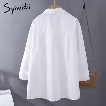Syiwidii Women Blouses Office Lady Cotton Oversize Plus Size Tops Pink White Blue Long Sleeve 2021 Spring Korean Fashion Shirts 3