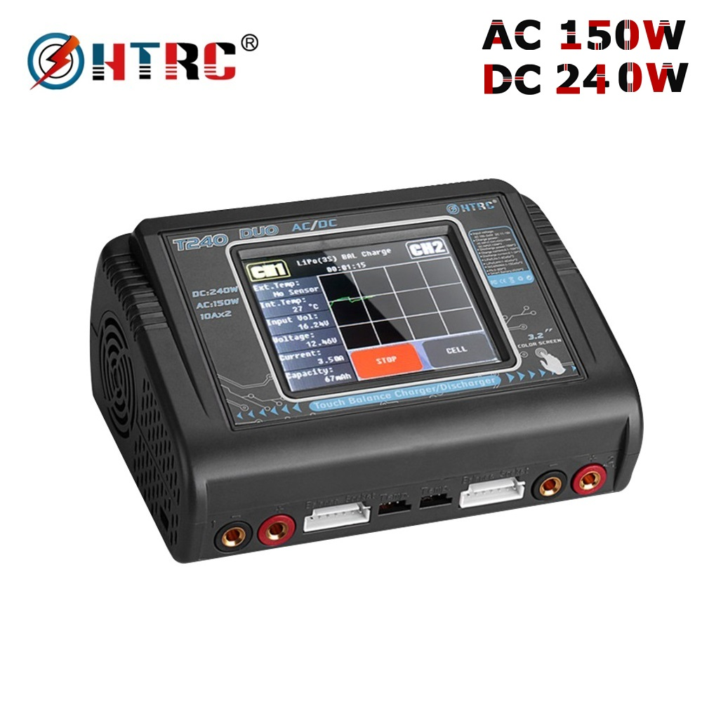 Oyuncaklar ve Hobi Ürünleri'ten Parçalar ve Aksesuarlar'de HTRC T240 DUO AC 150 W/DC 240W dokunmatik ekran çift kanallı 10A RC şarj dengeleyici boşaltmalar için LiPo liHV LiFe Lilon NiCd NiMh Pb'da  Grup 2