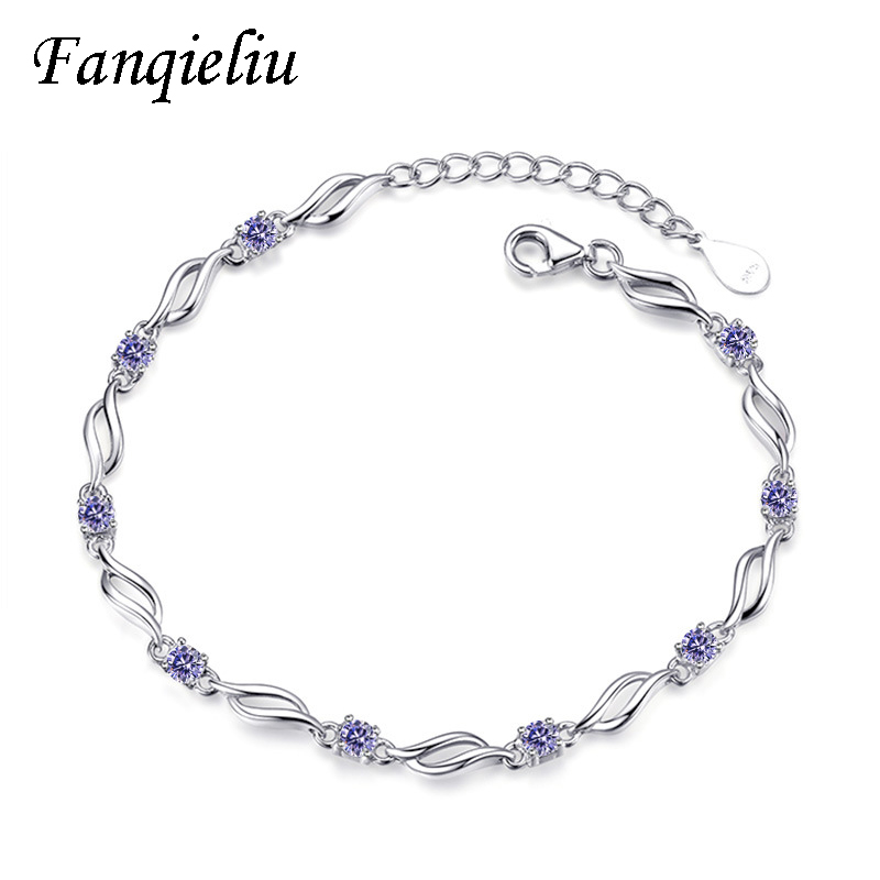 Fanqieliu Twisted chain Link Purple Crystal Luxury 925 Sterling Silver Bracelets For Women Zircon Fine Bracelet Woman FQL20345