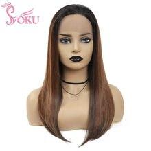 SOKU-pelucas frontales de encaje recto para mujer, cabello sintético marrón con pelo Natural, estilo Afro clásico, 18/22 pulgadas