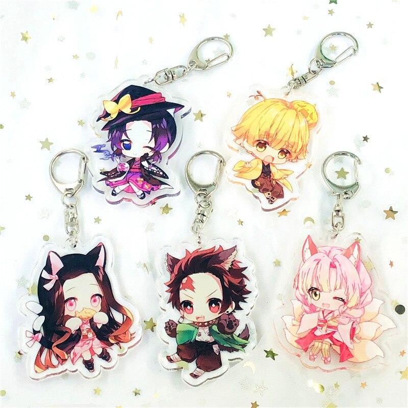 Keychain Anime Demon Slayer Kimetsu No Yaiba Kamado Tanjirou Key Ring Cute Pendant Gift Decoration Men and Women