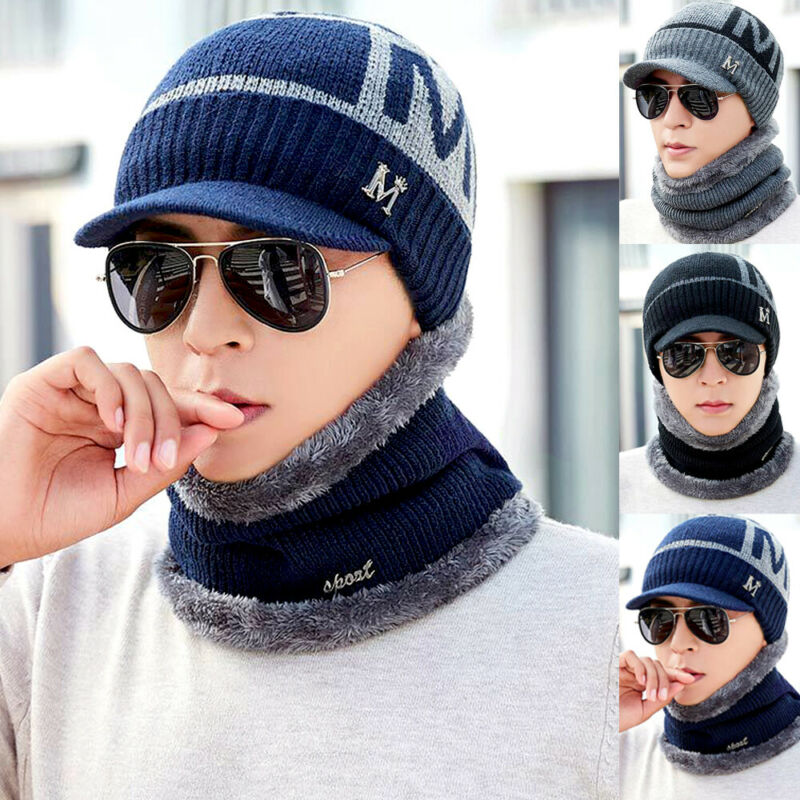 Unisex Winter Warm Knitting Beanie Hat Scarf Set Thicken Neck Warmer Ski Cap