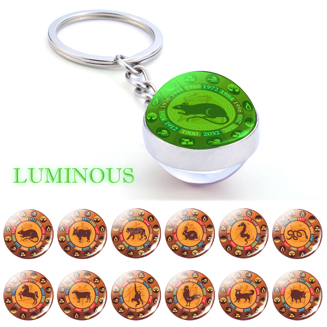 Glowing Chinese 12 Zodiac Keychain Animal Zodiac Rat Ox Tiger Dragon Rooster Glass Ball Luminous Keyring for New Year Gift