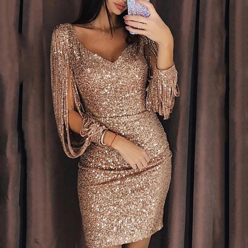Mazefeng 2019 New Sexy Sequined Dresses For Women Club Dress Female V-neck Sparkling Tassel Long-Sleeved Slim Bag Hip Dress