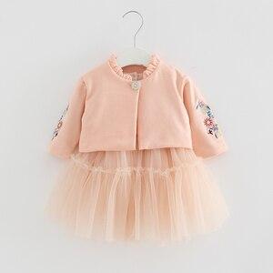 Image 4 - Crianças Conjuntos de Roupas de Outono Crianças de Manga Longa Casaco + vestido de Baile Vestido de Flores Bordado 2 PCS/Ternos de Roupas Meninas queda 0 2Y