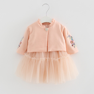 Image 4 - Kids Clothes Autumn Children Sets Long Sleeve Flowers Embroidery Coat+Ball Gown Dress 2PCS/Suits Girls Clothing Fall 0 2Y