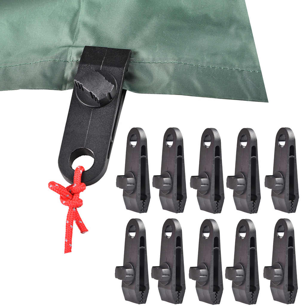 10pcs Tarp Clips Clamps Set Car Boat Cover Tent Tie Down Emergency Snap