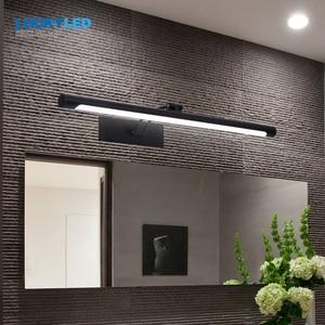 Image 2 - Счастливая светодиодный современный светодиодный Ванная комната настенное зеркало лампы светильник 12 Вт 55 см Винтаж настенный светильник черный, серебристый цвет Vanity светильник светильники бра настенный светильник