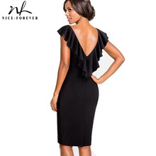 Nice forever Vintage Solid Color Elegant Zipper Sexy Ruffle Back V Neck vestidos Business Party Bodycon Sheath Women Dress B428