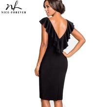 Женское винтажное облегающее платье Nice forever, однотонное элегантное облегающее платье на молнии с рюшами и v образным вырезом на спине, модель B428, 2019