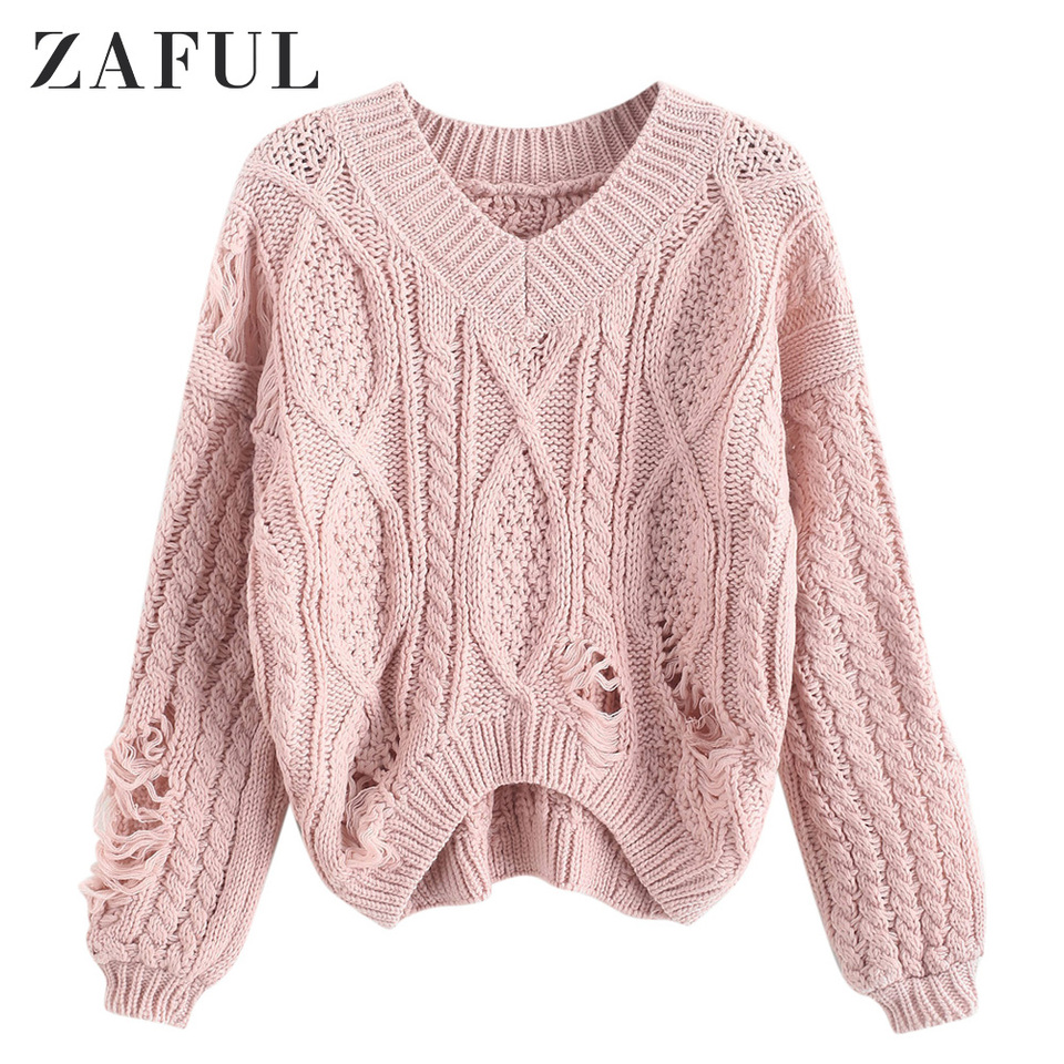 ZAFUL Ripped Chunky Cable Knit Distressed Drop Shoulder