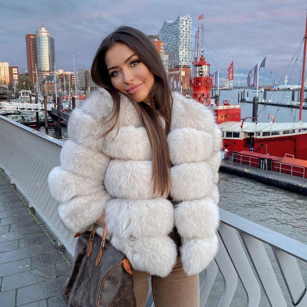 Moda inverno quente casaco de pele de raposa natural casaco de pele de raposa real casaco de pele de inverno grosso casaco quente