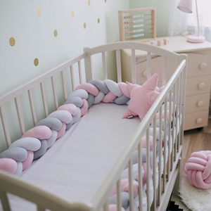 2M Length Newborn Baby Bed Bumper Pure Weaving Plush Knot Crib Bumper Kids Bed Baby Cot Protector Baby Room Decor