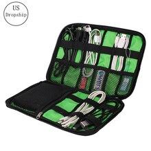 купить Travel Insert Bag Portable Cable Storage Organizer Bag Waterproof Shockproof Earphone Digital USB Sorting Travel Accessories Bag по цене 312.83 рублей
