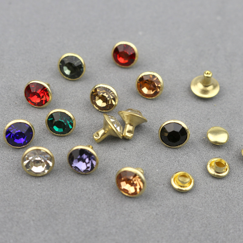 30Sets 8mm Crystal Rhinestone Rivets Diamante Studs DIY Crafts Hair Accessories Leather Decor Rebite Spikes Tubular Drill Nails