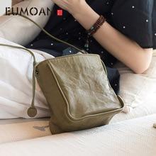 EUMOAN 2020 new leather original retro art leisure bucket bag simple handmade sheepskin slung shoulder