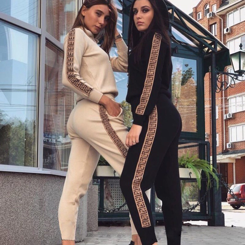 Fashion 2Pcs Women Travel Leisure Jogging Printing Tracksuits Pant Clothing Set Long Sleeve Women's Lined Hoodies Pants Set