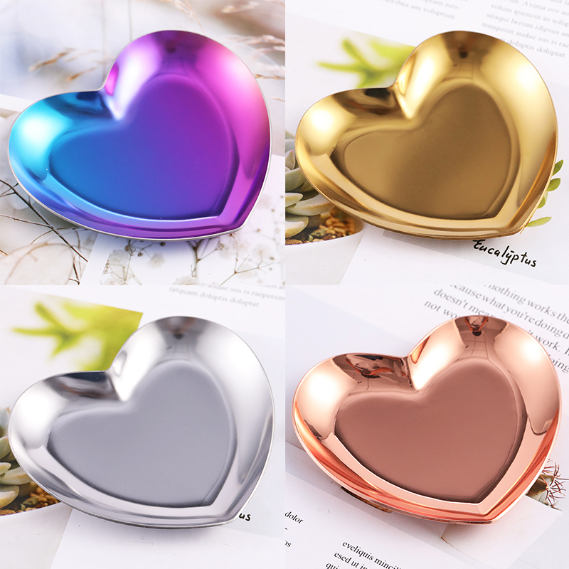 1 Pc Metal Heart Colorful Storage Case Nail Tips Decorations Nail Jewelry Empty Container Palette Box Nail Art Tool