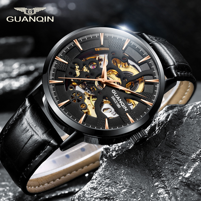 Guanqin  Mechanical Watch Men Automatic Skeleton Movement  Business Watch Top Brand Luxury Clock Waterproof  Relogio Masculino