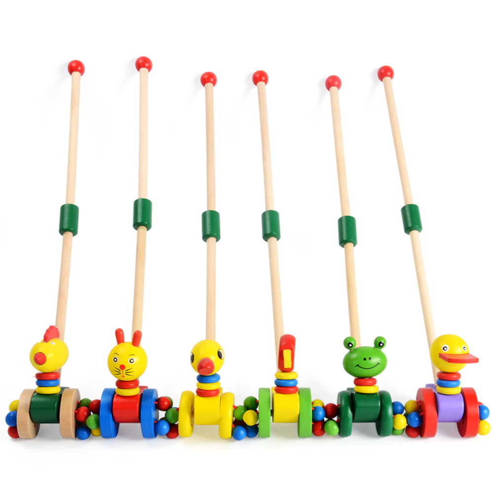 Kids Wooden Toys Early Childhood Baby Walker Deconstructable Wooden Single Pole Step Cart Pushing Toy D350N10